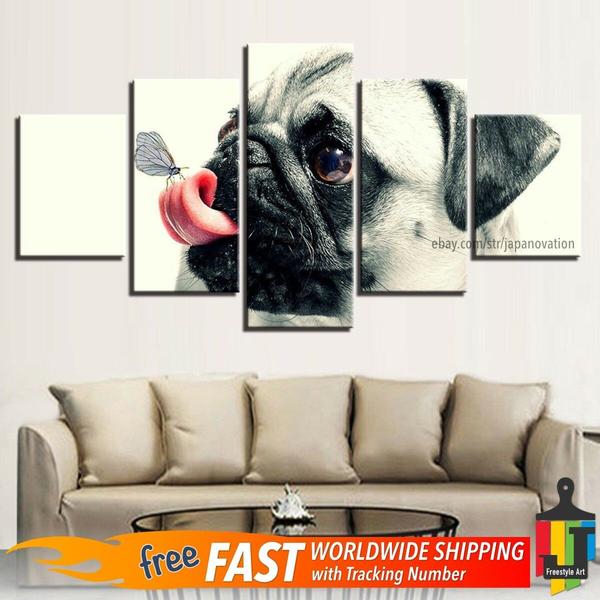5 Pieces Home Decor Canvas Print Animal Wall Art Cute Pet Pug Dog Play Butterfly