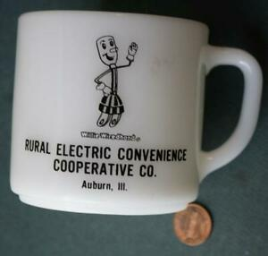 1960-70s Auburn Illinois Willie Wiredhand Electricity Mascot milkglass mug / cup