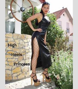 Sexy Robe Us10 Schwarz Lederkleid Noir en M40 Splits Cuir gzwdzA