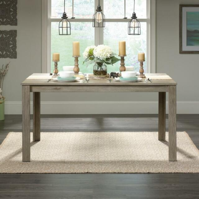 Rustic Wood Dining Table Grey Weathered Look Kitchen Farmhouse