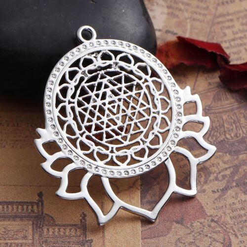 1PC Dull Silver Tone Fleur Sri Yantra collier pendentif bijoux 4x3.5cm
