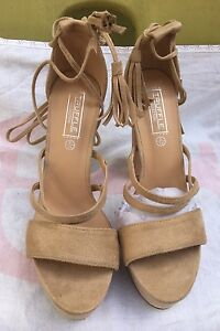 Shoes Size 6 Ladies Girls Suede Nude Heels ZwxqZHF0S