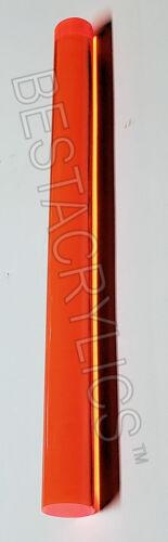 "1"" DIAMETER 24/"" LONG CLEAR TRANSLUCENT ORANGE ACRYLIC PLEXIGLASS LUCITE ROD 25mm"