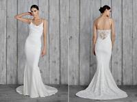 Nicole Miller Hampton Lace Back Antique White Wedding Dress Sleeveless Gown 0