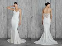 Nicole Miller Hampton Lace Back Antique White Wedding Dress Sleeveless Gown 10