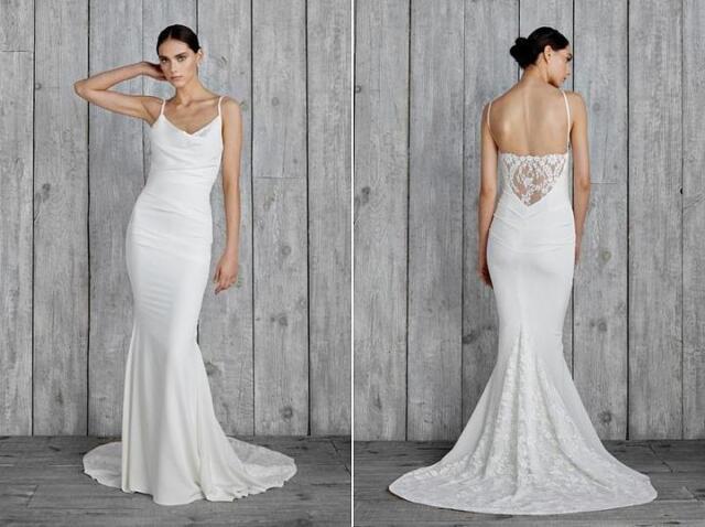 Nicole Miller Hampton Lace Back Antique White Wedding Dress ...