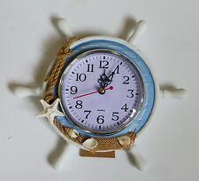 Shabby Chic Rustic Nautical Coast Blue & White Wooden Ships Wheel Clock