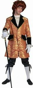 Costume Travestimento Vestito Carnevale Uomo Barocco Del 600 Casanova Oro Nero