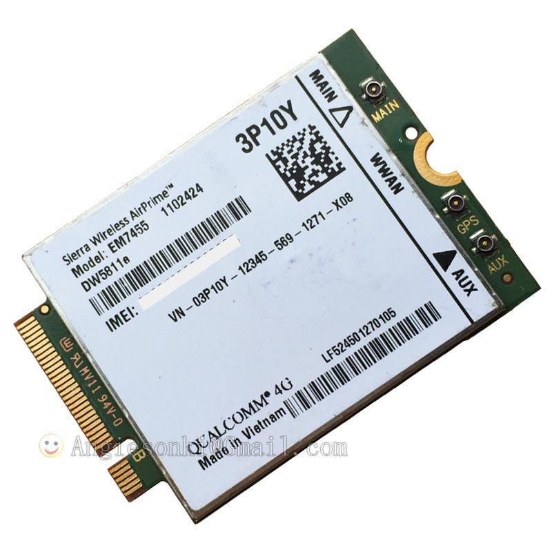 Dell Sierra Wireless AirPrime Em7455 Qualcomm 4g WWAN Card Module Dw5811e  3P10Y