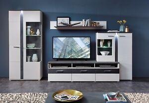 Details zu Anbauwand Spurt Wohnwand Wohnzimmer Schrankwand Matt Weiß  TV/Wohnlösung