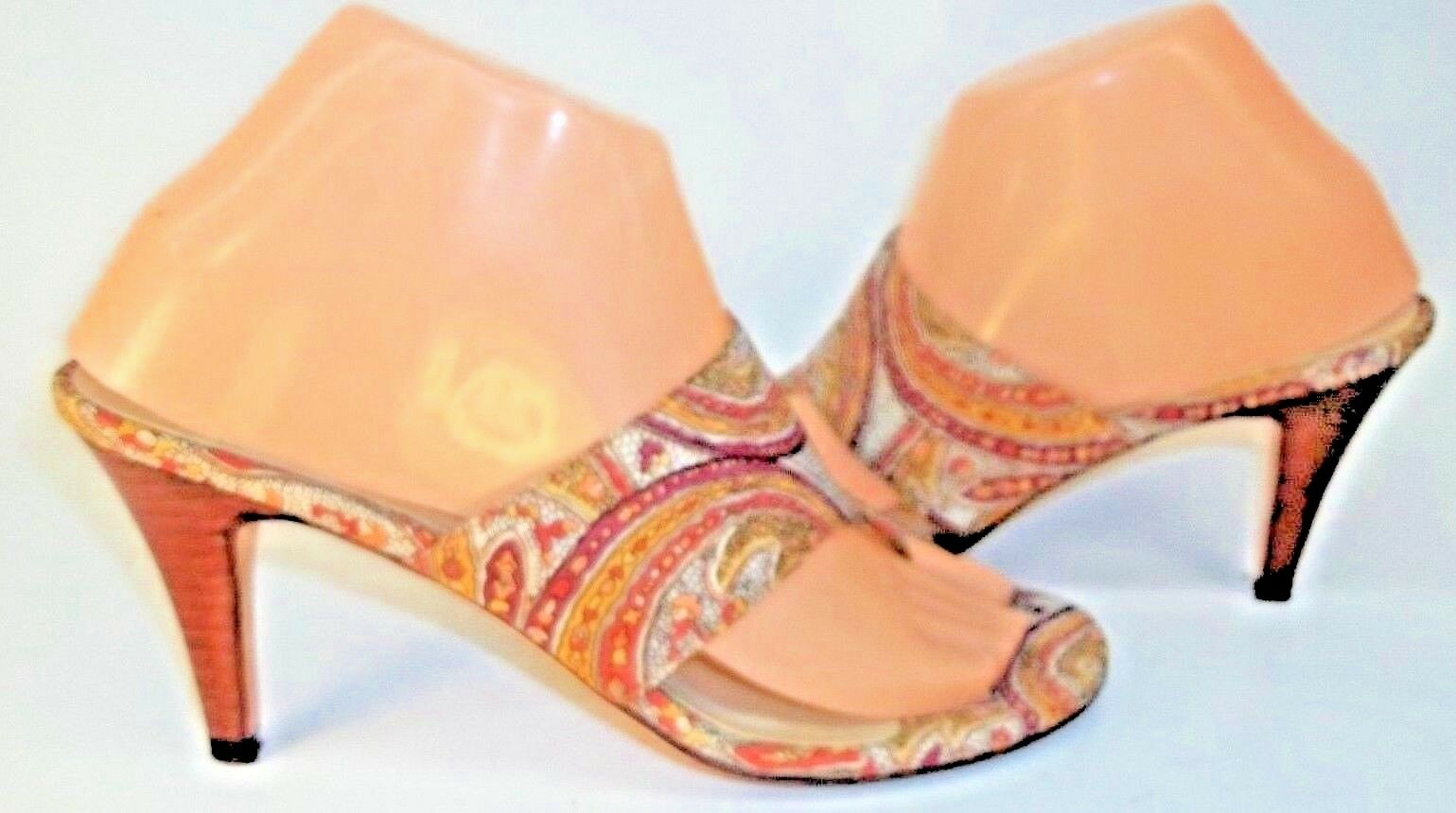 Talbots Mujer Tacones Sandalias Tela de EE. UU. 7.5 Cuero Tela Sandalias Geométrico Resort Zapatos 3288 19e8d9