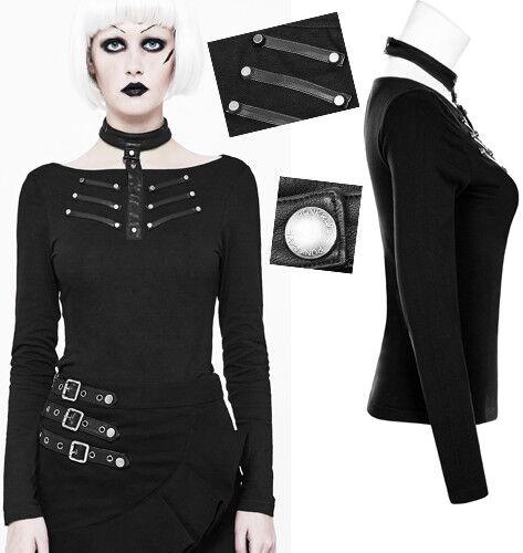 2019 Neuer Stil Top Shirt Gothic Punk Lolita Militär Leder Streifen Kette Nieten Mode Punkrave Reine WeißE