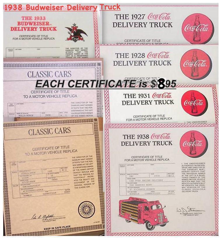 One Danbury Mint Certificate Of Title Ebay