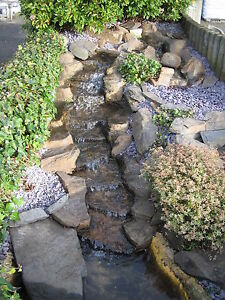Pre formed waterfall water feature 39 the rapids 39 garden for Garden pond waterfalls for sale