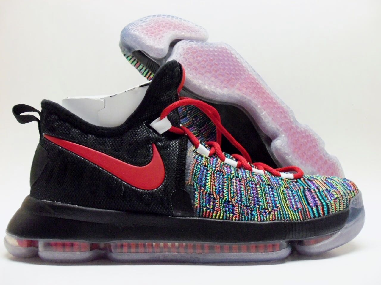 Nike kd 9 ix id kevin durant multi-color / nero-red dimensioni uomini [863695-999]