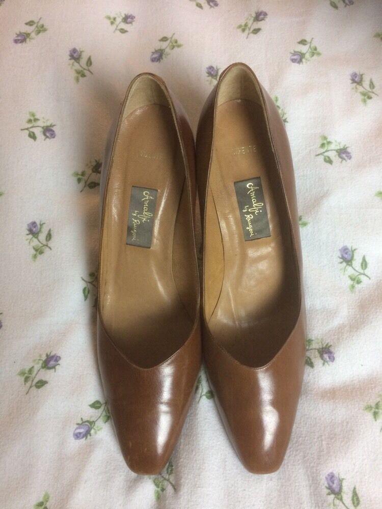 AMALFI BY RANGOLI 'Vixente' Braun Leder Court Schuhes/ High Heels- 8. Not Worn