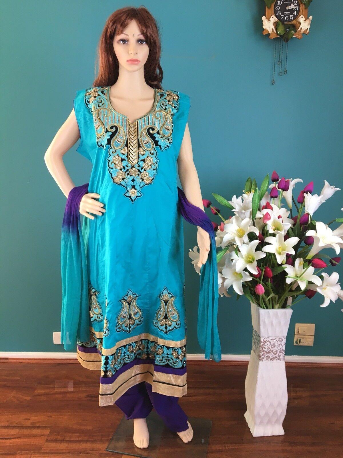 50  XXXL Cotton Salwar Kameez Indian Bollywood  Dress Aqua bluee Purple M10