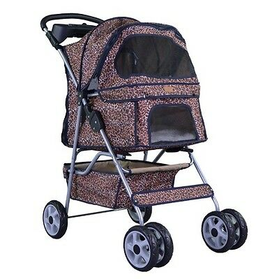 Leopard Skin bestpet 4 Wheels Pet Dog Cat Stroller w/RainCover