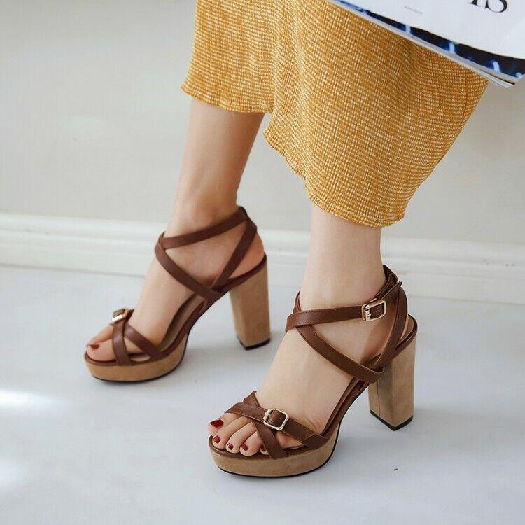 Wouomo Leather Ankle Strap Platform High Heels Peep Toe Buckle Sandals scarpe