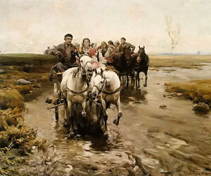 Oil alfred von kowalski wierusz - people on carriage come from market on canvas