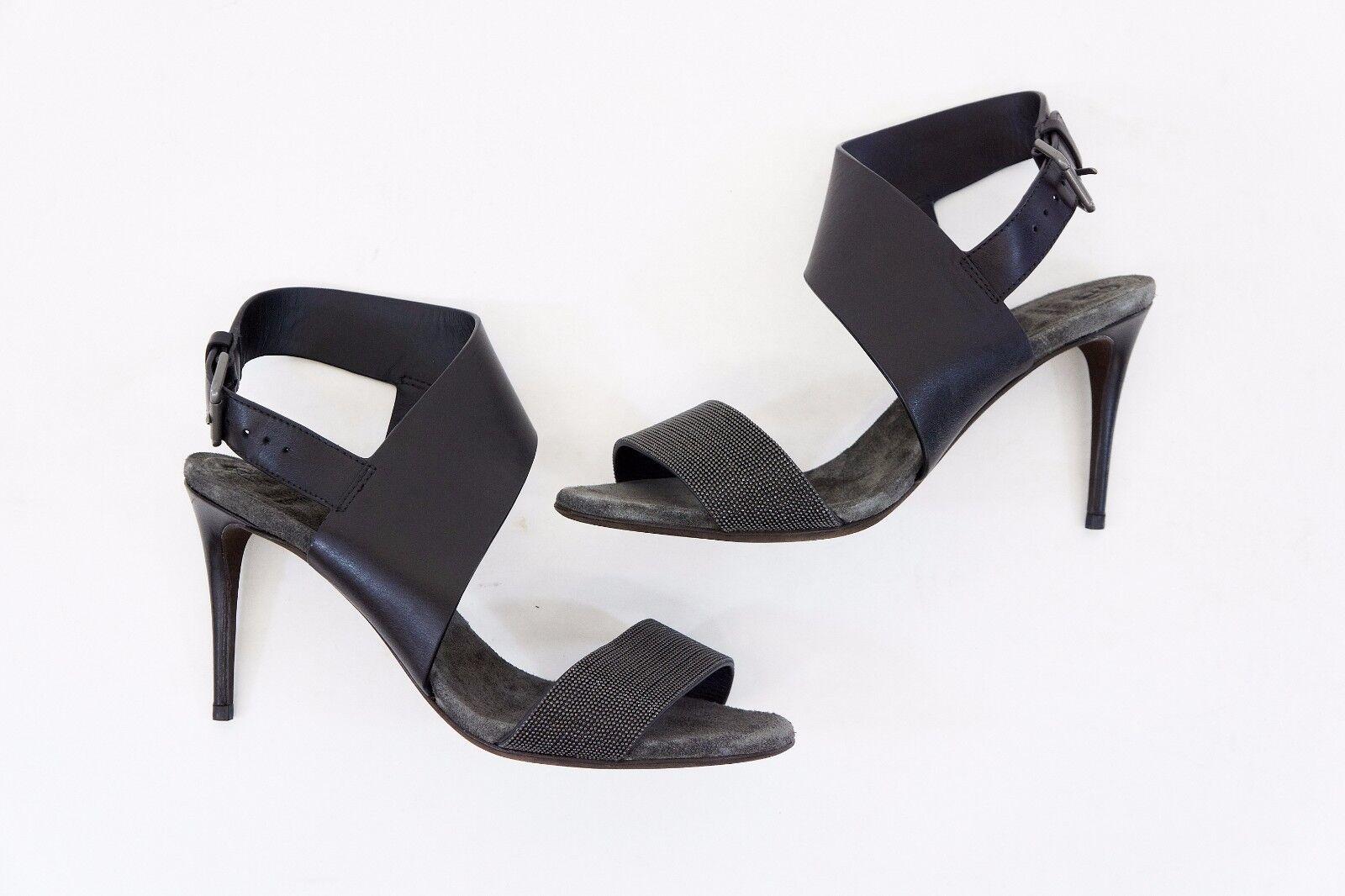 NWOB 1495 Brunello Cucinelli 100%Leather Monili Strap Beaded Slingbacks37 7 A176