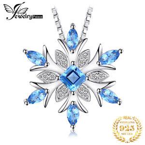 Weihnachten-Snowflake-Echte-Schweizer-Blue-Topas-925-Sterlingsilber-Anhaenger