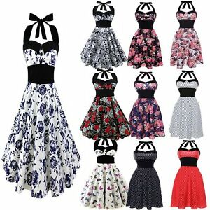 Women-Gothic-50s-60s-Skulls-Floral-Butterfly-Vintage-Party-Club-Rockabilly-Dress