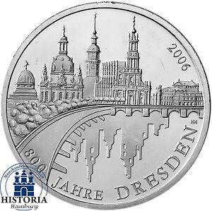Deutschland 10 Euro Silber 2006 Bfr 800 Jahre Dresden Münze In