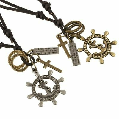 Anchor Pingente Metal Pendant Necklaces Cowhide Leather Vintage Style Pirate Jew