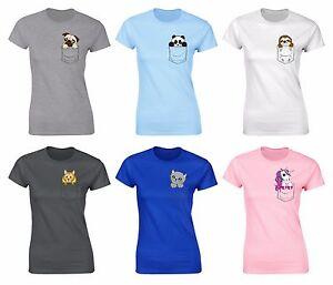 848c005366 Image is loading Womens-Cute-Animal-Printed-Pocket-T-shirts-Pug-
