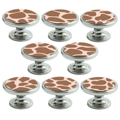 Polished Chrome Knobs Giraffe Print 38mm Cupboard Drawer Door Handle Decorated