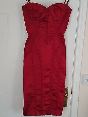 KAREN MILLEN RARE Red Vintage Corset  Dress 8