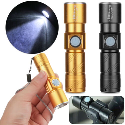 Small LED Torch USB Rechargeable Flashlight Zoomable Camping Hiking Lamp