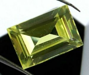 11.35 Ct Natural Yellow Sapphire Emerald Cut AGSL Certified Loose Gemstone