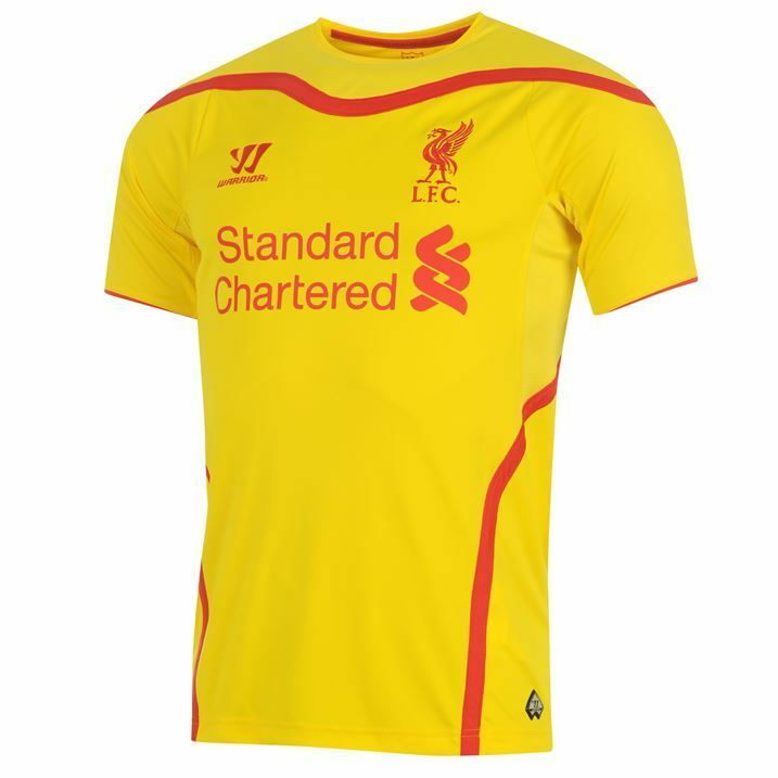 LIVERPOOL 201415 AWAY 2XL,XL giallo SSL FOOTBALL SOCCER SHIRT JERSEY WARRIOR