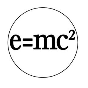 E=MC2 pin button badge Albert Einstein science nerd geek e mc squared