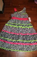 Girls Size 12 Dress By Swak From Sears Pink Green Black White Dressy