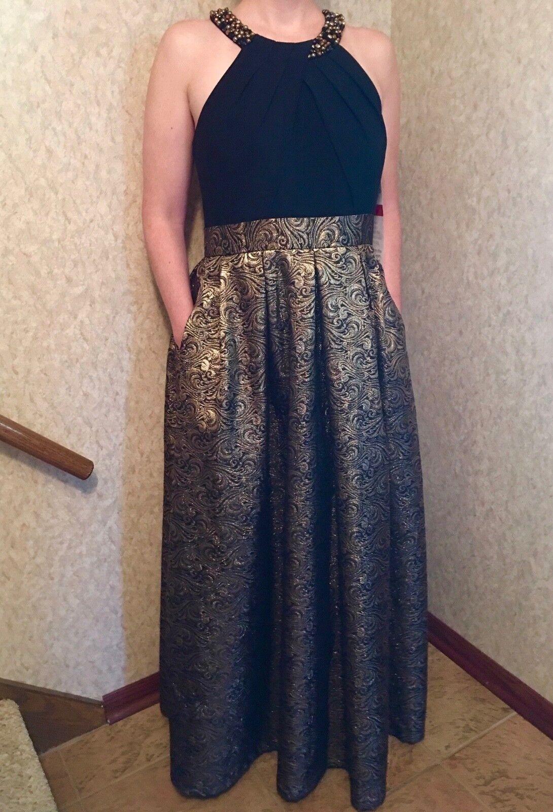 Eliza J long dress, schwarz and Gold, jacquard Größe 14.