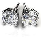 1.00ct Solitaire Round Diamond Earrings 14K White Gold Earring Studs VVS11/D