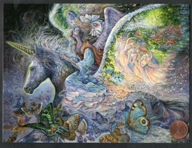 JOSEPHINE WALL Unicorn Angel Wings Butterflies Trees  - Birthday Greeting Card