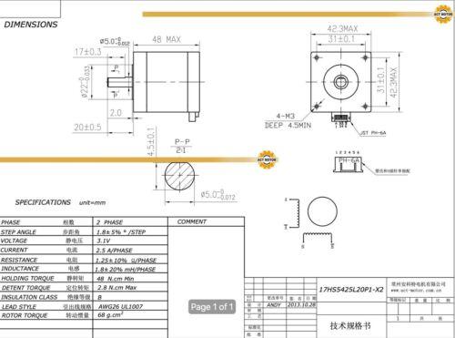 5PCS Nema17 17HS5425L20P1-X2 Schrittmotor 2.5A 48mm 70oz-in D-Shaft Connector