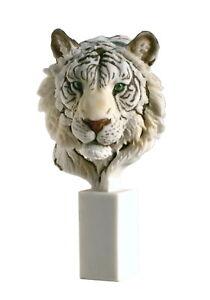Moderne Skulptur Katze mit Vogel Figur ca 21 cm x 24 cm in Silber und Weiss