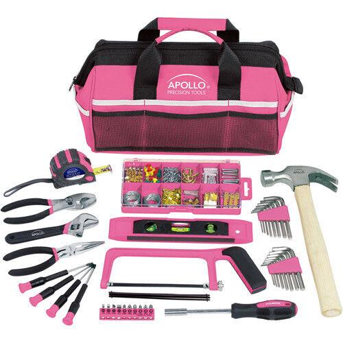 Household Tool Kit Bag Pink 201-Piece Girls Ladies Females Womens Her Home Tools