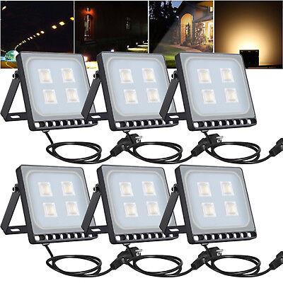 5X 50W LED Fluter Mit Stecker Flutlicht Außen Strahler Gartenlicht Warmweiß CE