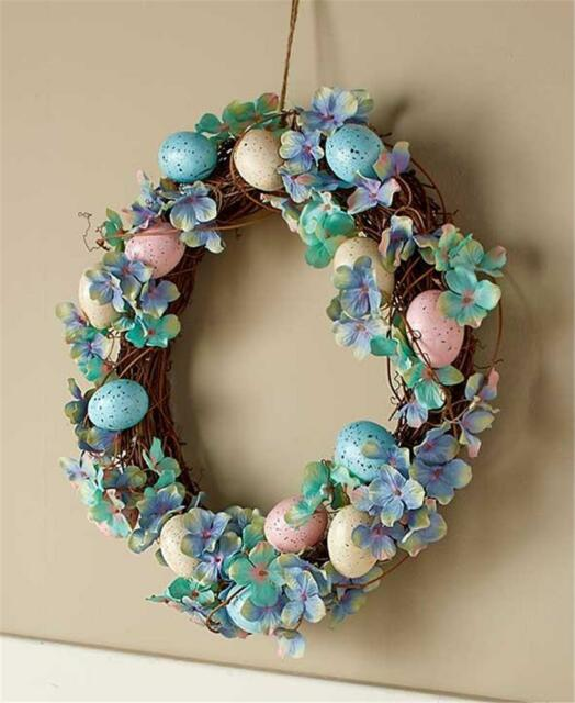 EASTER FLORAL AND COLORED EGGS DOOR WALL WREATH PRETTY SPRING DECOR