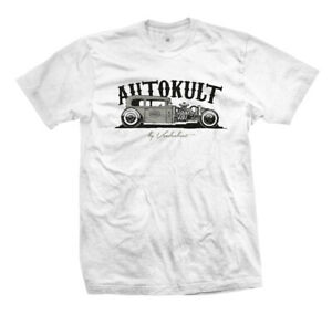T-Shirt-Autokult-Rockabilly-Kustom-Hot-Rat-Rod-Flathead-V8-US-Car-weiss