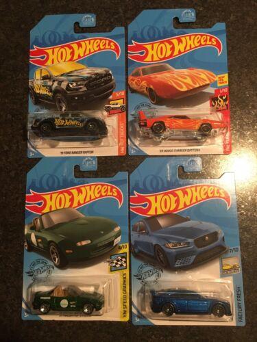 Hot Wheels Game Stop Exclusive Set Raptor, Green Miata, Blue Jaguar, Daytona