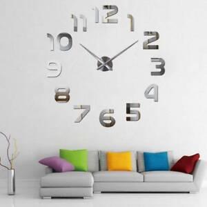 Design Wand Uhr Wohnzimmer wanduhr Spiegel Edelstahl wandtattoo Deko XXl 3D