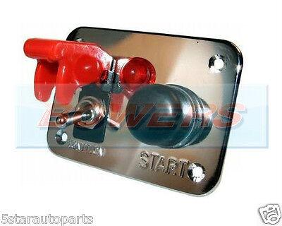 Flip-up Push Button Engine Start Pannello Di Interruttore Accensione Cromato Auto Da Rally Marine-
