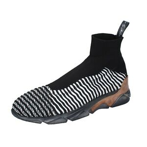 scarpe uomo MOMA 42 EU sneakers nero bianco tessuto BP856-42